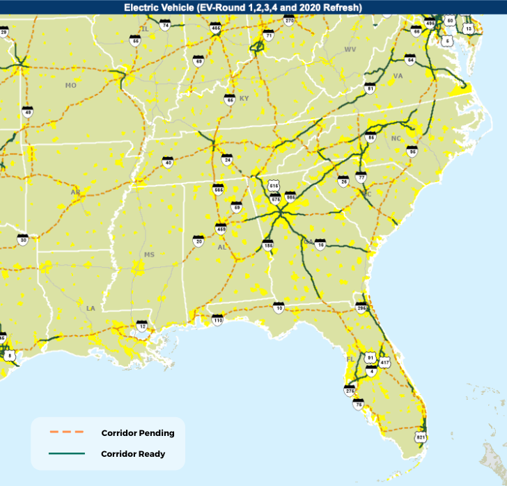 Map of EV Corridors in the Southeastern US