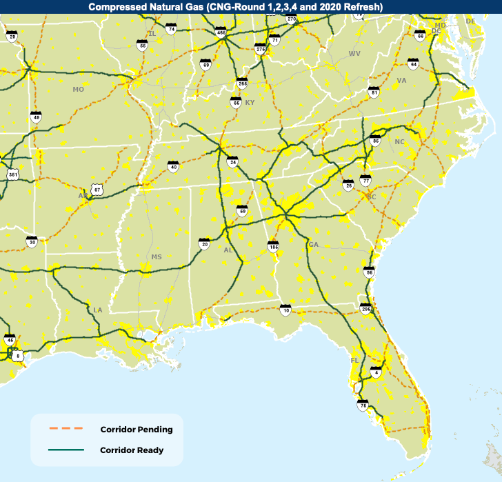 Map showing CNG Corridors in the Southeastern US