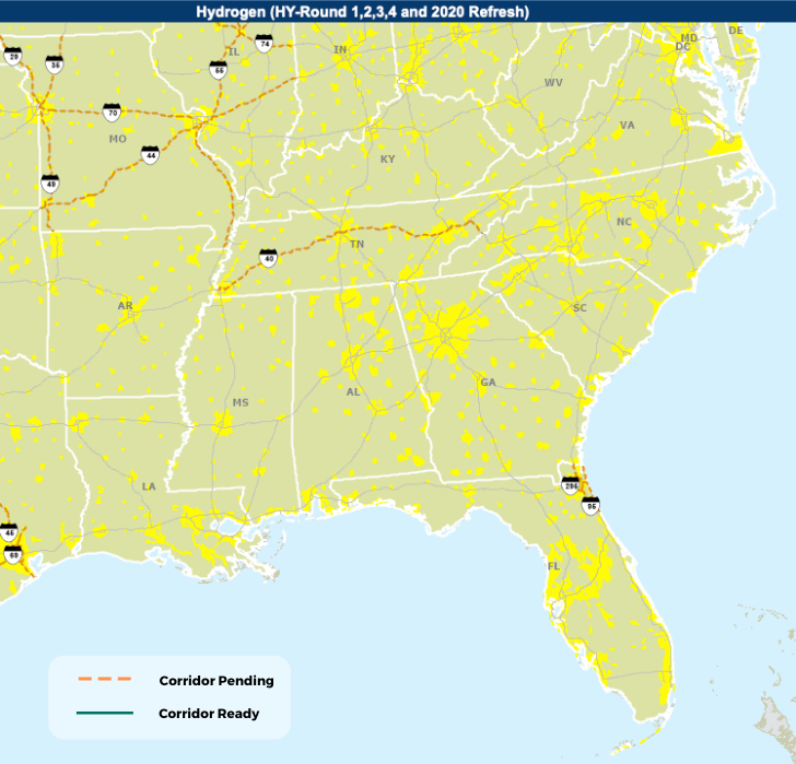 Map showing Hydrogen Corridors in the Southeastern US