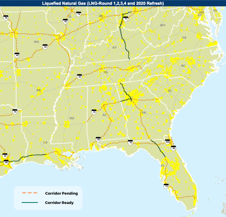 Map showing LNG Corridors in the Southeastern US